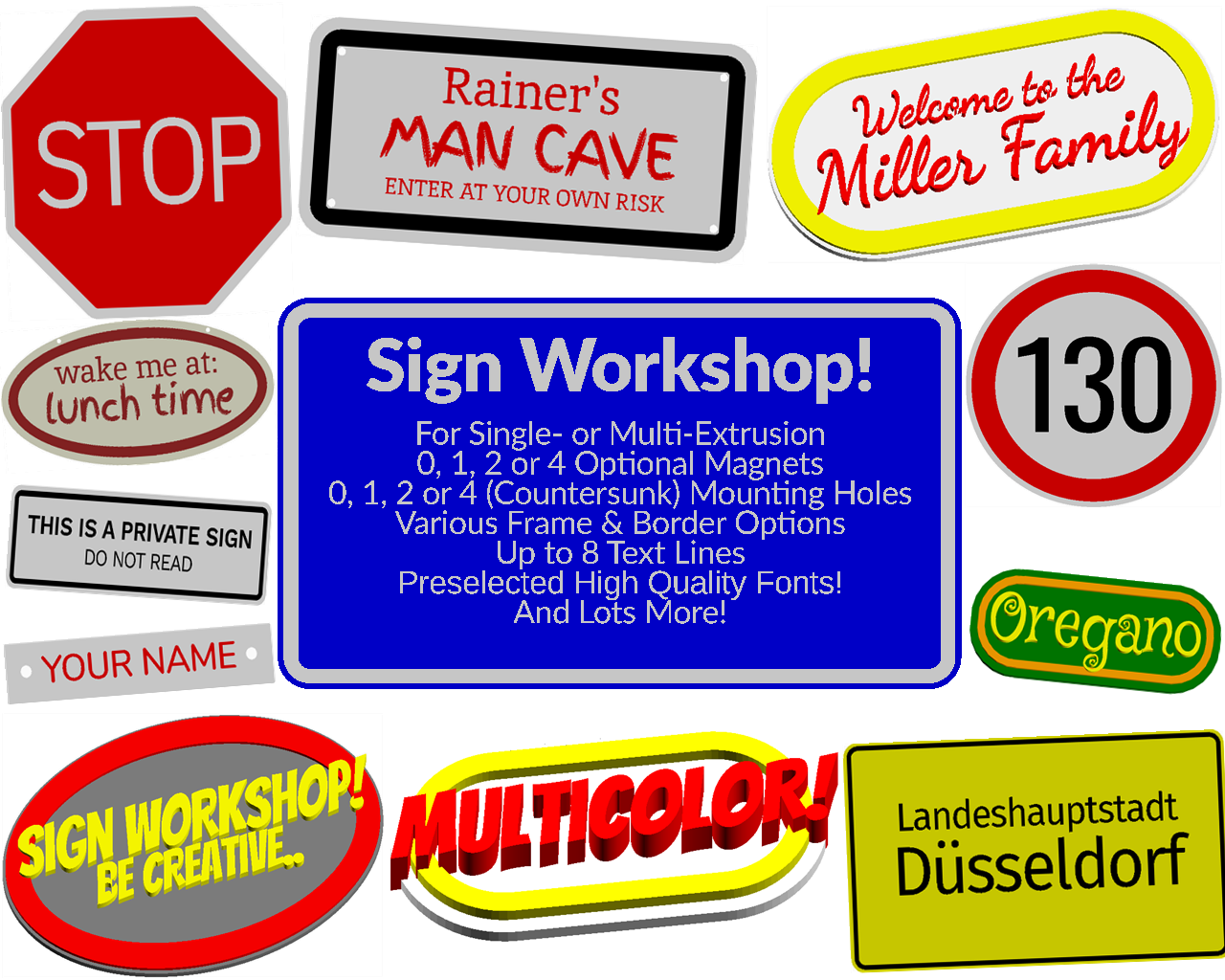Customizable Sign Workshop (MMU,Multi-color or Single color printer)